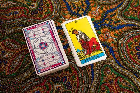 Tarot cards. Magic. Divination. Strength
