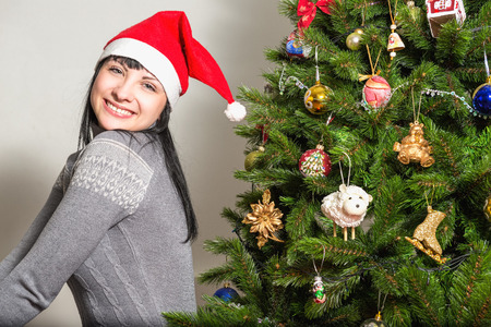 female christmas: New Year. Portrait of a beautiful cheerful girl
