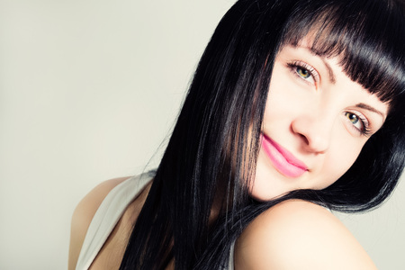 silky hair: Portrait of an attractive young woman with beautiful hair