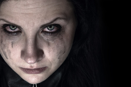 resentment: Portrait of a tearful woman