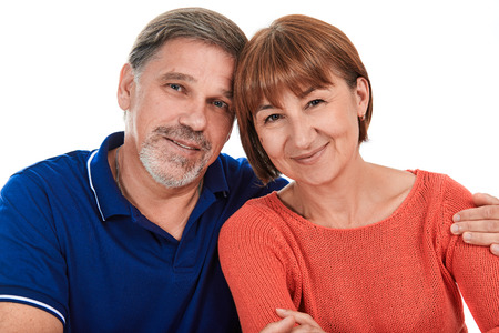happy families: Man and woman. Portrait of a beautiful happy adult couples on a white background