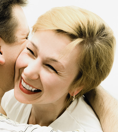 average age: Happiness to be loved. Portrait of a loving heterosexual couple close-up