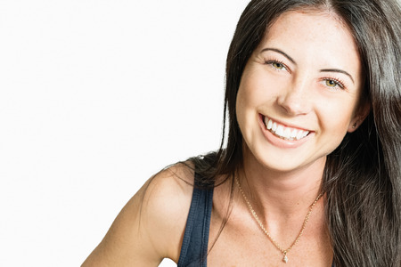 Portrait of a beautiful cheerful young woman Stock Photo