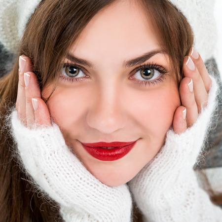 Portrait of a beautiful young woman. Face closeup Stock Photo