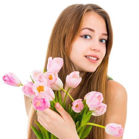 Portrait of a beautiful young woman with flowers on a white background