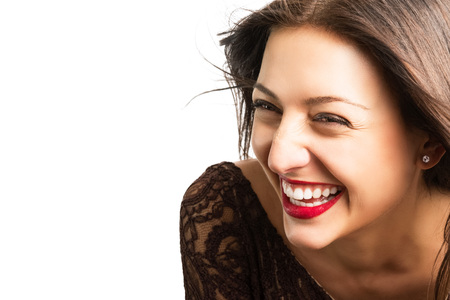 Joy - it is so beautiful! Portrait of beautiful cheerful woman Stock Photo