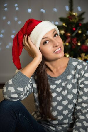 New Year. Portrait of a beautiful cheerful young woman