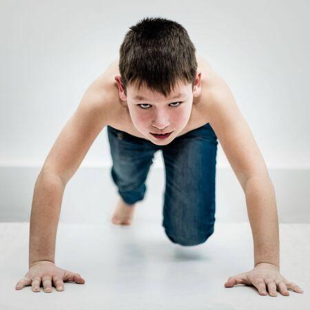 At the start. Portrait of a beautiful teenager purposeful sports.