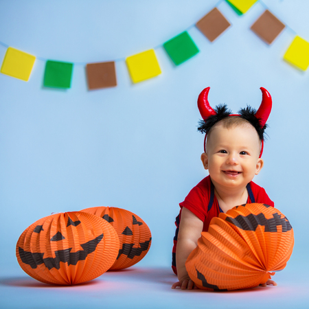 Portrait of a happy child in the style of Halloween Stock Photo