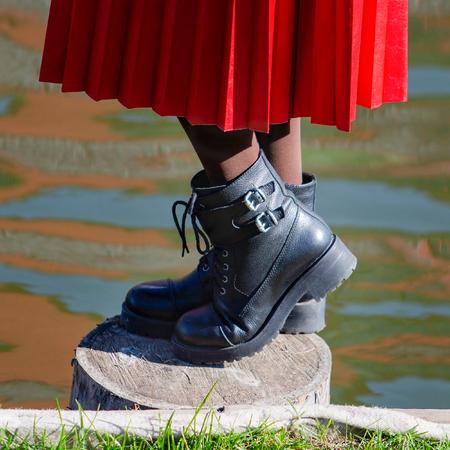 Footwear. Fashionable womens shoes close-up. Outdoor photography Фото со стока