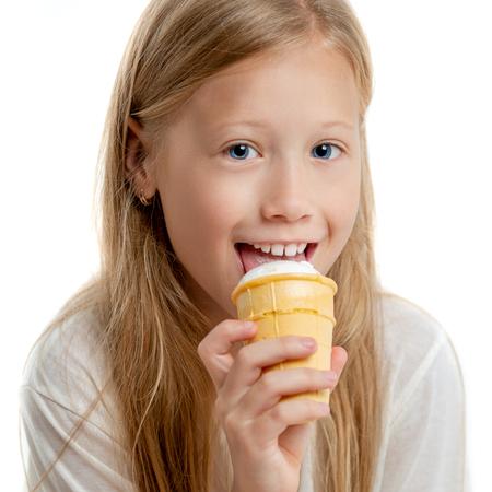 Girl portrait on white background Фото со стока