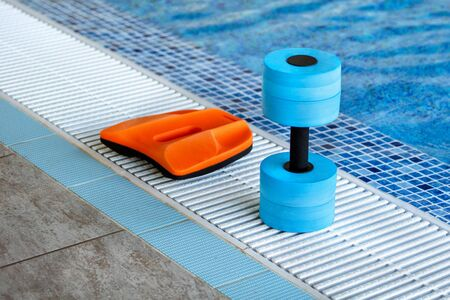 Swimming pool. Accessories for swimming. Board and dumbbell Imagens