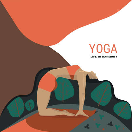 Yoga. Healthy lifestyle. Woman in camel pose. Graphic design
