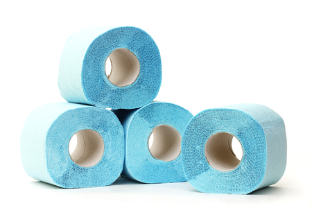 Blue toilet paper on a white background