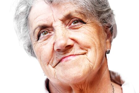 congenial: Old woman smile face Stock Photo