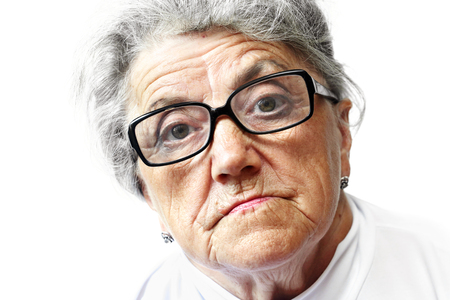 congenial: Old woman in glasses Stock Photo