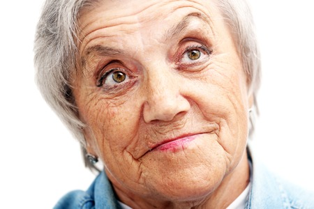 Grandmother face on a white background