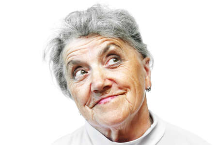congenial: Old woman face on white