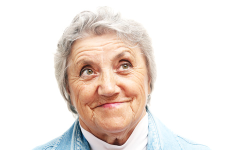 congenial: Old woman smile face. Grandmother Stock Photo
