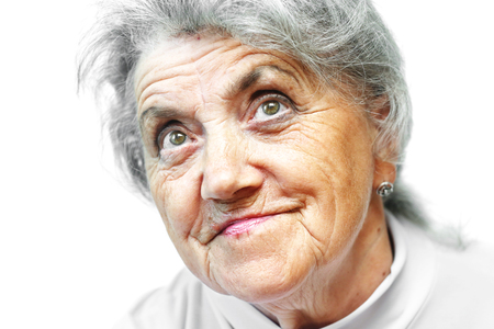 Old woman face on white