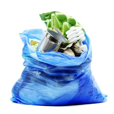 Garbage bag with trash isolated on white Stock Photo