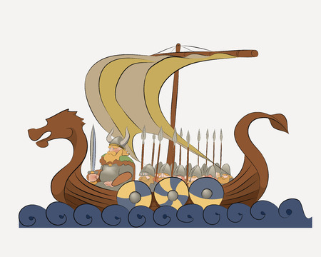 Vector illustration depicts a viking warship. Folks gathered in a predatory expedition to distant shores.