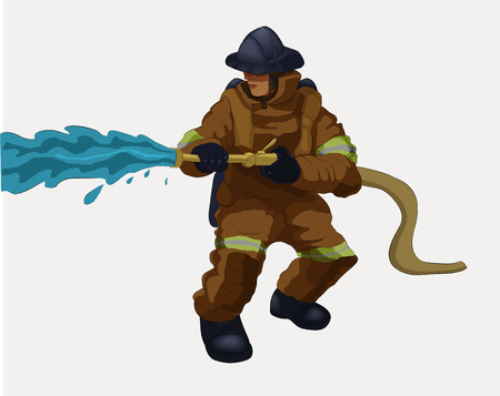 Vector illustration shows a fireman holding a water hose.