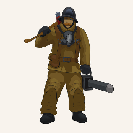 Vector illustration of a fire rescuer in uniform, with an ax and a saw. Illustration