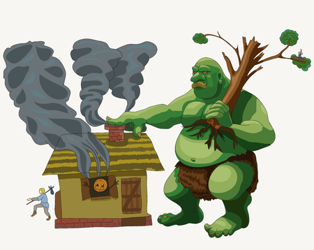 Vector illustration depicts how a huge and scary troll visits a person. He came to take everything away.