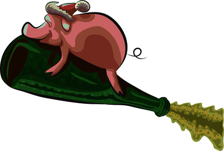Pig flying on a bottle of champagne, vector illustration.