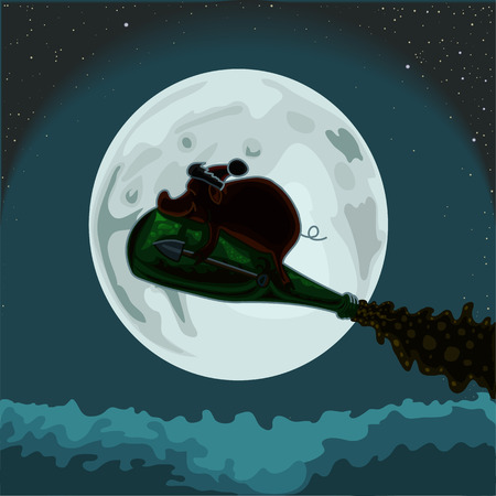 Earthen pig is flying on the background of the moon, vector illustration.