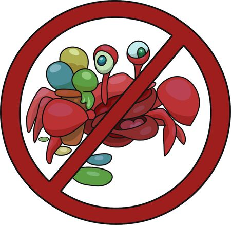 Sign prohibiting passage with ice cream vector illustration