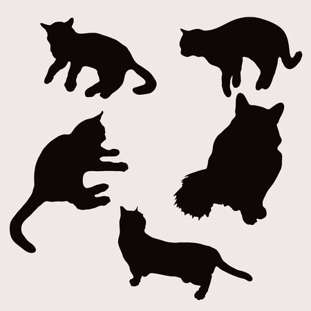 Vector illustration of silhouettes of cats in sitting, standing, lying.