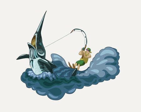 Happy fisherman riding a Marlin vector illustration