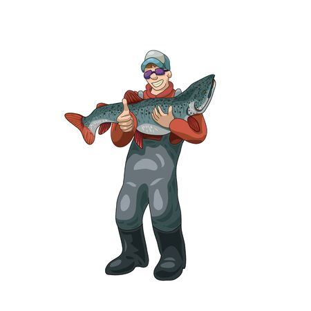 Smiling fisherman holding a big fish vector illustration