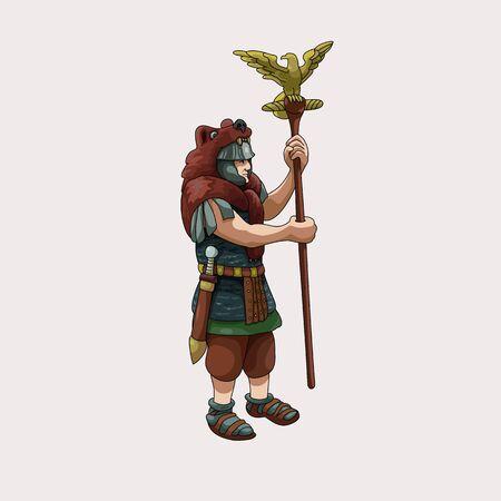 Warrior aquilifer with Roman eagle vector illustration.