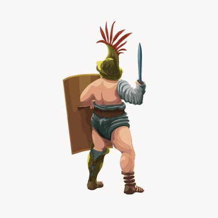 Gladiator murmillo, view from back, vector illustration. Illustration