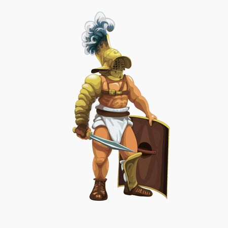 Gladiator murmillo getting ready to perform in the arena, vector illustration.