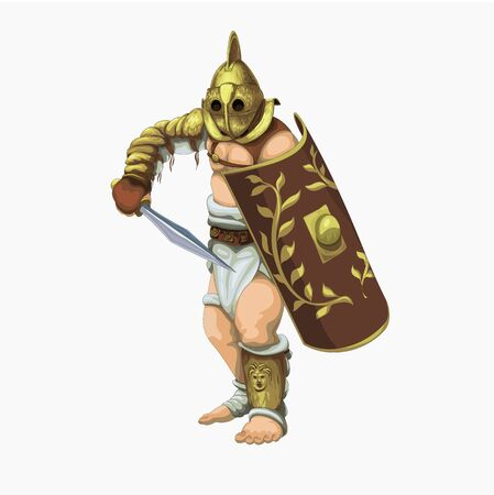 Gladiator secutor preparing to attack the enemy, vector illustration.
