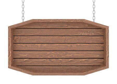 Letrero de madera con cadena sobre fondo blanco. Render 3D. Foto de archivo