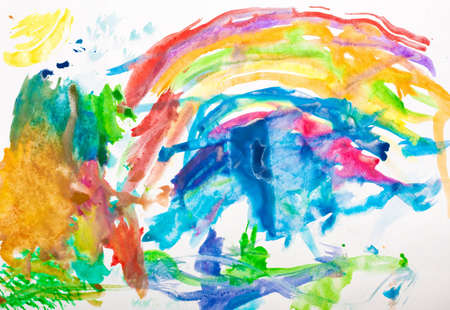 Abstract watercolor hand painted background drawn by a kid