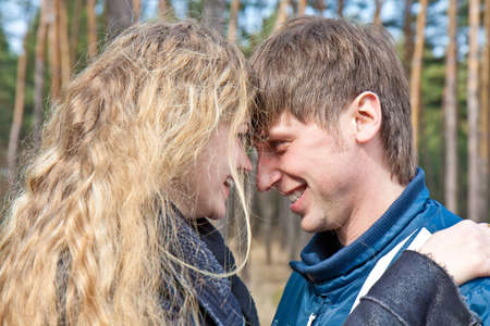 Closeup portrait of a beautiful young couple smiling together Stock Photo - 9096266