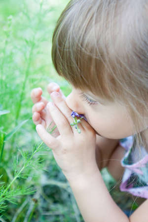 A little girl is smelling the blooming flowers.