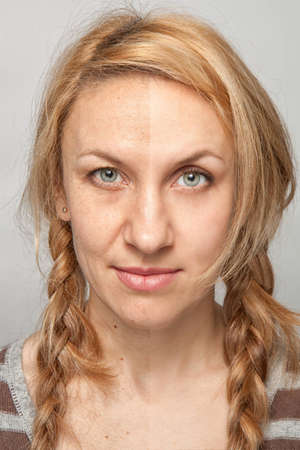 Beauty retouch, before and after on grey background