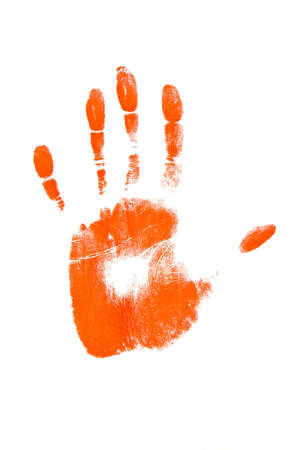Red handprint shape over white background