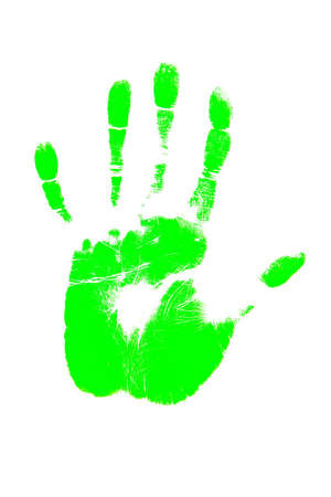 green handprint shape over white background  Stock Photo