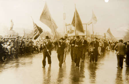An old photo which shows a demonstration of the Communist