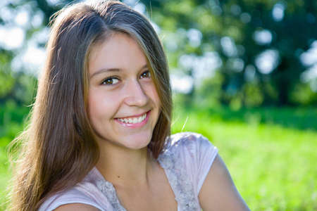 Portrait of a smiling young girl Stock Photo