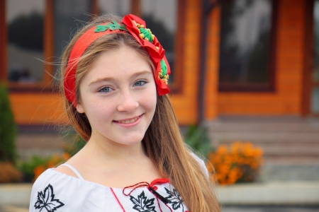 Ukrainian girl in national dress. Stock Photo
