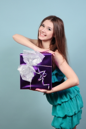 A beautiful girl with a gift  Stock Photo